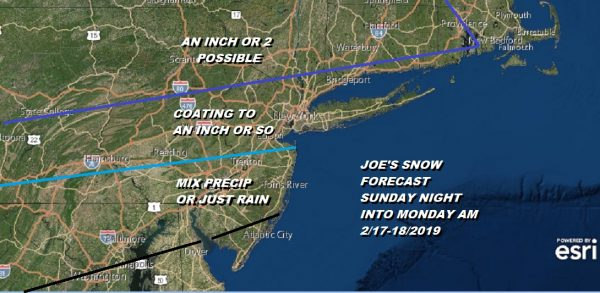 Snow Forecast Sunday Night Monday Morning 2/17-18/2019