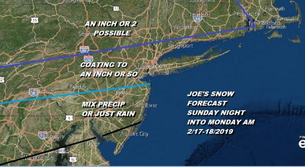 Snow Forecast Sunday Night Monday Morning 2/17-18/2019
