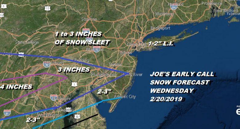 Snow Forecast Wednesday 2/20/2019 Joe's Early Call
