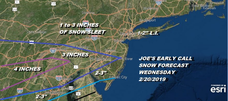 Snow Forecast Wednesday 2/20/2019 Joe's Early Call