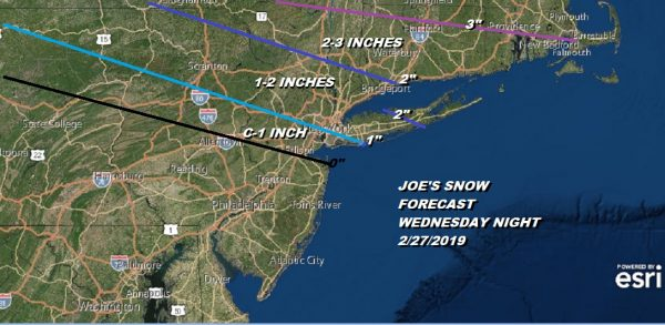 Early Call Snow Forecast Wednesday Night 02272019