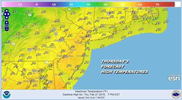 THURSDAY'S FORECAST HIGH TEMPERATURES