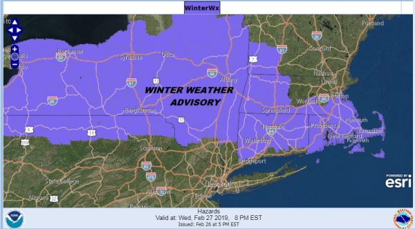 Winter Weather Advisory Upstate NY New England Wednesday into Thursday
