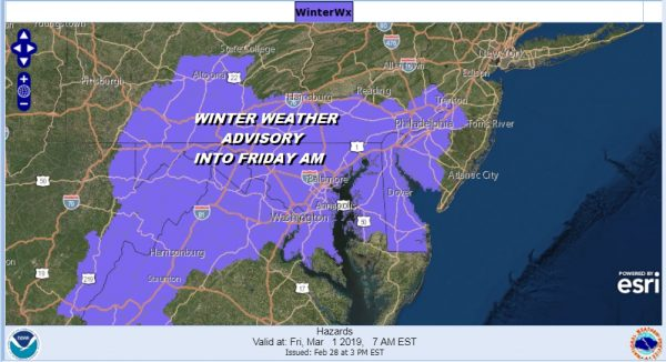 Winter Weather Advisory Southwest New Jersey Southern Pennsylvania