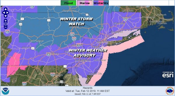 Winter Weather Advisory Expanded Winter Storm Watch NW NJ HV