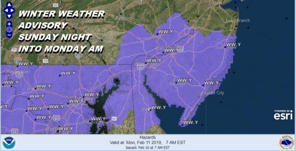 Winter Weather Advisory South Jersey Southeast Pennsylvania Tonight into Monday
