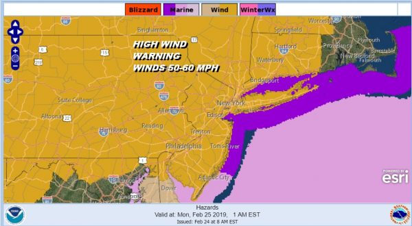 High Wind Warning Winds 50-60 MPH Tonight Monday