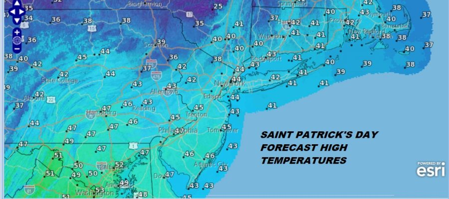 Saint Patrick's Day Sunshine Cold Mostly Dry Week Ahead