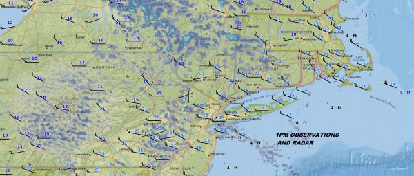 Snow Showers Moving Through Very Cold Temperatures