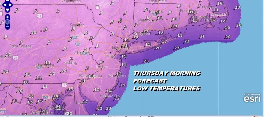 THURSDAY MORNING FORECAST LOW TEMPERATURES