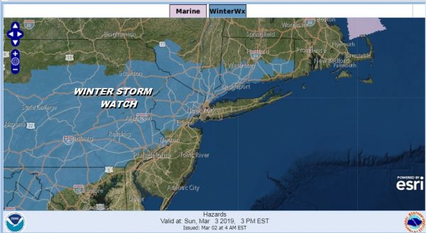 Winter Storm Watch Late Sunday into Monday Morning