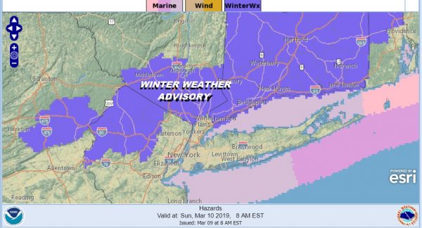 Winter Weather Advisory NW New Jersey Hudson Valley Connecticut Overnight
