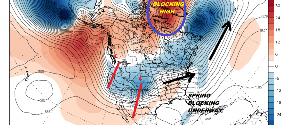Spring Blocking Underway Makes Raw Wet Days Warmer In Between Systems