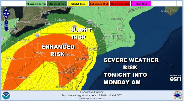SEVERE WEATHER            RISK TONIGHT INTO MONDAY AM