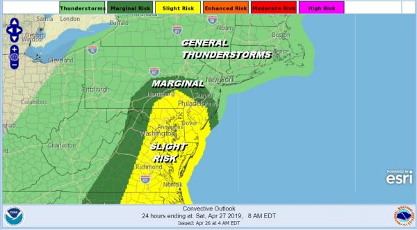 Severe Weather Marginal Risk Pushed Northward Showers Thunderstorms Tonight