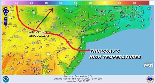 Dreary Day Warm Front South Passover Easter Weekend Outlook