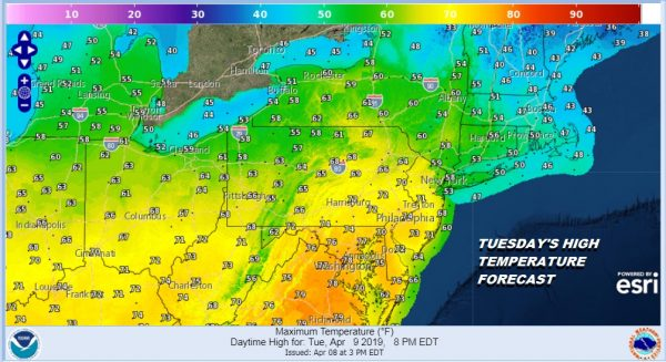 TUESDAY'S HIGH TEMPERATURE FORECAST