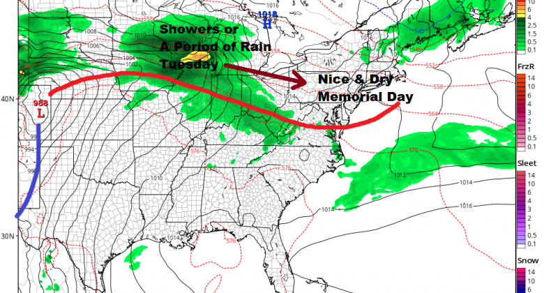 Some Showers Thunderstorm Warm Front Approaches Warm Humid Sunday
