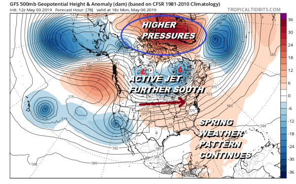 Active Spring Pattern Continues Long Range