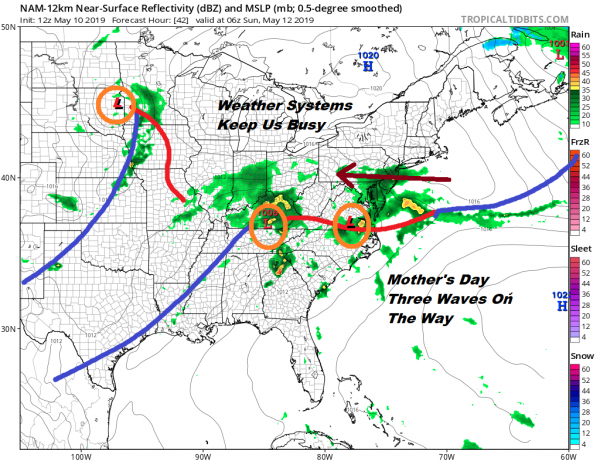 Showers On & Off Into Tonight, Dry Saturday Cloudy Wet At Times Sunday Into Tuesday