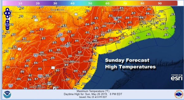 Very Warm Humid Sunday Late Thunderstorm Cooler Less Humid Memorial Day