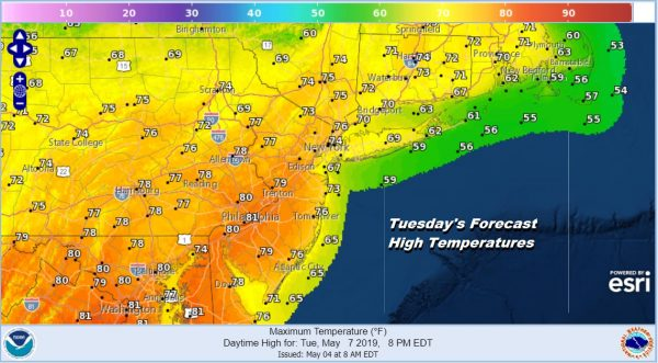Tuesday's Forecast High Temperatures
