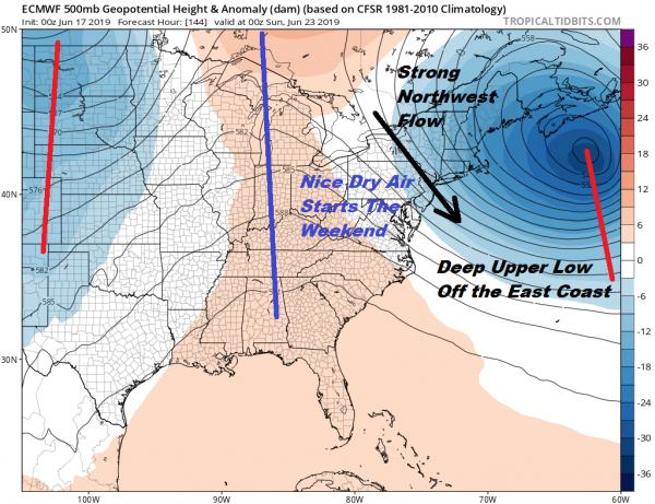 Frontal Boundary Issues All Week Some Showers Tonight Thunderstorms South Jersey Southward