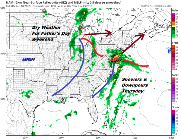 Downpours Later Today Tonight Week Ahead & Father's Day Weekend Outlook
