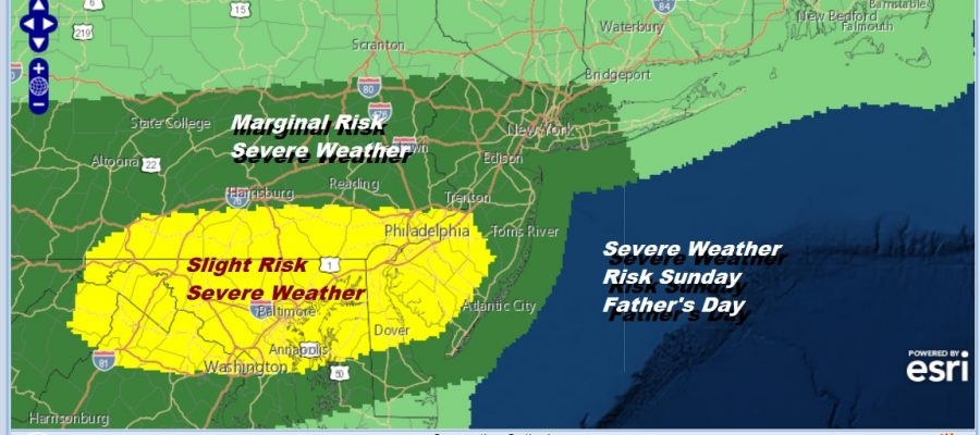 Severe Weather Risk Father's Day Chance Showers Thunderstorms Late Today