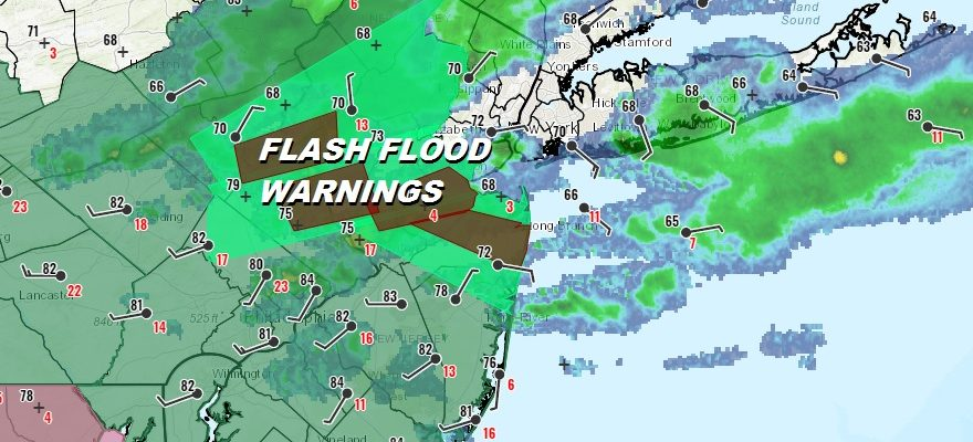 Flash Flood Warnings Continue Across Northern New Jersey This Evening