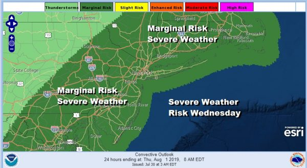Severe Weather Risk Wednesday Hot Humid Weather Continues