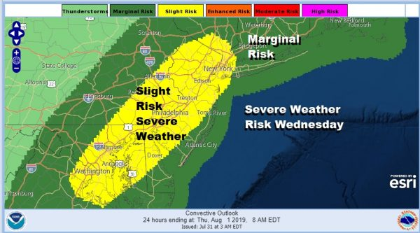 Severe Weather Risk Raised This Afternoon Evening New Jersey Eastern Pennsylvania