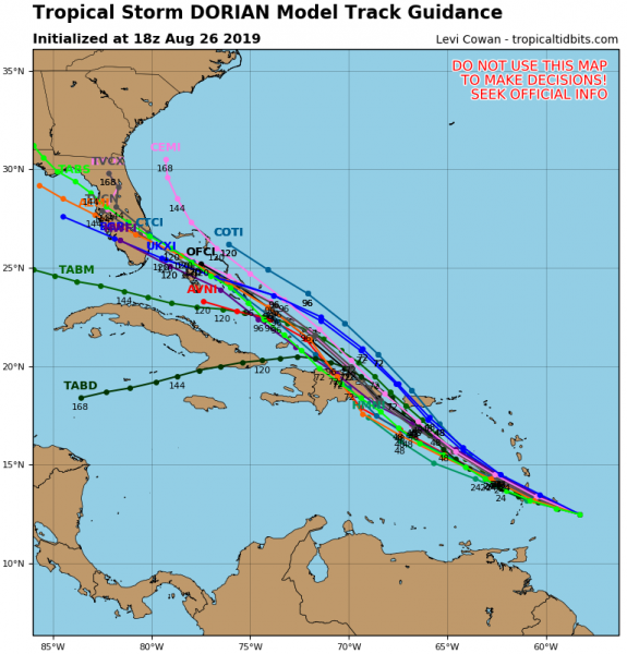 The dilemmas in the forecast are several. Front and center is track of course and given the weakness in the upper high to the north Dorian should turn more northwestward in the Eastern Caribbean which increases the threat to Puerto Rico and the Virgin Islands. However given the small size of the storm and the dry environment it lives in, the target zone is rather small. What exactly are we going to be dealing with from a standpoint of intensity? The areas of yellow and orange represents strong winds in the atmosphere above 5000 feet. Tropical systems do not like strong winds like this as they rip the storms apart blowing thunderstorms away from the center. The GFS has been forecasting hostile conditions developing in the Eastern Caribbean after Tuesday so in theory at least Dorian could be sheared apart to a remnant low before it even reaches Puerto Rico or the islands surrounding it. The European model has been showing the same idea up until last night and now suggests the wind shear won't be an issue here. If that is the case Dorian could make it north of Puerto Rico and the Domincan Republic and into the Bahamas later this week. Conditions north of these islands will be quite favorable for strengthening IF it makes it there in one piece. A buliding upper high to the north and northeast of a storm in the Bahamas would drive it westward toward Florida but we then come back to the original question which is will Dorian survive the Eastern Caribbean?