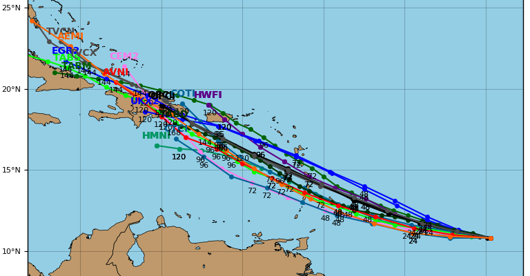 ...DORIAN MOVING STEADILY WESTWARD... ...WATCHES WILL LIKELY BE NECESSARY FOR PORTIONS OF THE LESSER ANTILLES ON SUNDAY... SUMMARY OF 1100 PM AST...0300 UTC...INFORMATION ----------------------------------------------- LOCATION...10.9N 50.4W ABOUT 635 MI...1020 KM ESE OF BARBADOS MAXIMUM SUSTAINED WINDS...40 MPH...65 KM/H PRESENT MOVEMENT...W OR 280 DEGREES AT 14 MPH...22 KM/H MINIMUM CENTRAL PRESSURE...1008 MB...29.77 INCHES WATCHES AND WARNINGS -------------------- There are no coastal watches or warnings in effect. Interests in the central and northern Lesser Antilles should monitor the progress of Dorian. DISCUSSION AND OUTLOOK ---------------------- At 1100 PM AST (0300 UTC), the center of Tropical Storm Dorian was located near latitude 10.9 North, longitude 50.4 West. Dorian is moving toward the west near 14 mph (22 km/h). The tropical storm is forecast to move generally west-northwestward at a similar forward speed for the next several days. On the forecast track, Dorian is expected to be near the central Lesser Antilles on Tuesday. Maximum sustained winds are near 40 mph (65 km/h) with higher gusts. Gradual strengthening is forecast during the next few days, and Dorian could be near hurricane strength when it approaches the central Lesser Antilles on Tuesday. Tropical-storm-force winds extend outward up to 25 miles (35 km) from the center. The estimated minimum central pressure is 1008 mb (29.77 inches).