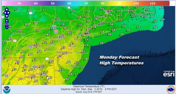 Labor Day Weather More Humid Chance Showers Thunderstorm
