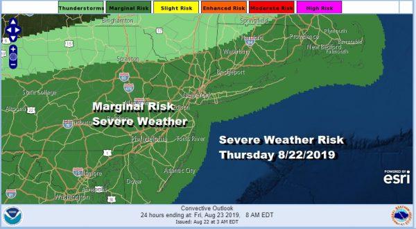 Severe Weather Risk Thursday 8/22/2019