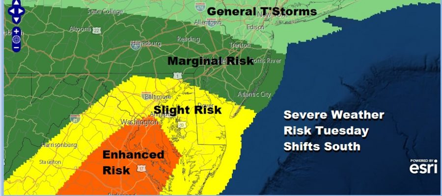 Severe Weather Risk Reduced Shifts South