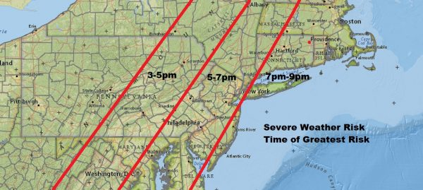 Severe Weather Likely Late Today North Carolina to Western New England