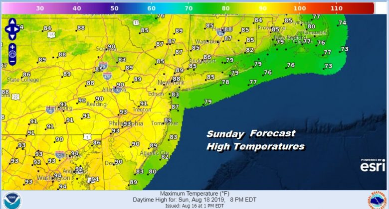 Pop Up Thunderstorms Otherwise High Humidity Heat Sunday Through Tuesday