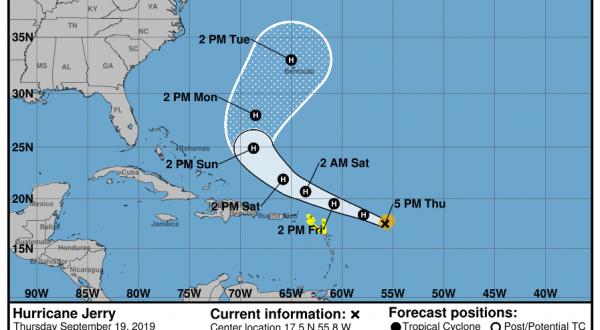 Humberto Rip Current Risk Hurricane Jerry Nearing Leeward Islands