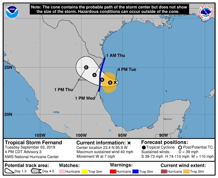 Dorian Finally Moving NW Toward Florida Tropical Storm