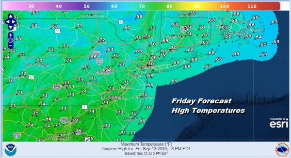 Friday Forecast HIgh Temperatures