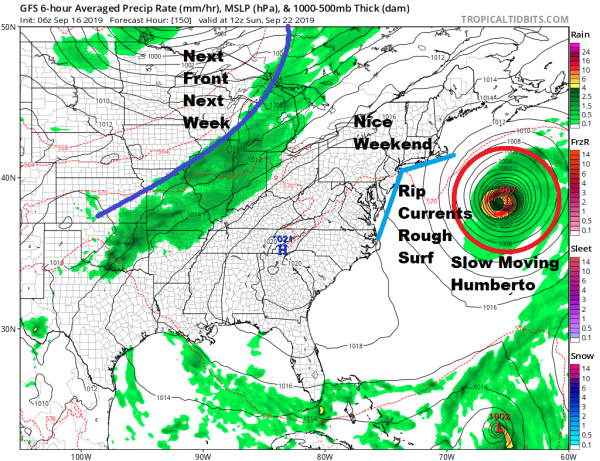 Week Ahead Quiet September Weather Humberto Heads East Toward Bermuda