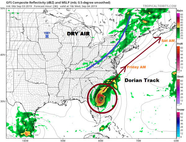 Severe Weather Threat Wednesday. Dorian Will Pass Southeast of Long Island Friday