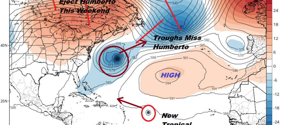 Humberto Strengthening Bermuda Bound Tropical Atlantic System Better Organized