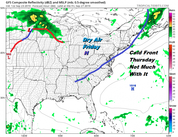 Scattered Showers Tonight As Cold Front Passes Back to Sunshine Tuesday Wednesday