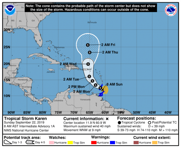 Tropical Storm Warnings may be issued later today for other portions of the Windward Islands. A Tropical Storm Watch will likely be issued later today for Puerto Rico and the Virgin Islands. Elsewhere, interests in the Leeward Islands should monitor the progress of Karen.