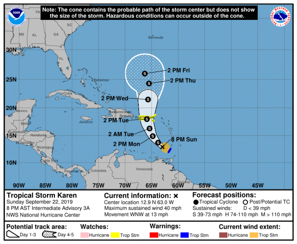 Tropical Storms Jerry Karen Poorly Organized New Storm Soon Eastern Atlantic
