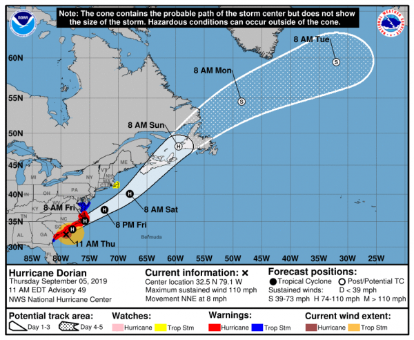 Dorian Eye East of Charleston South of Myrtle Beach Tornadoes 115 MPH