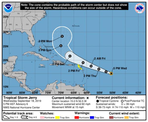Humberto Hurricane Waring Bermuda Jerry Tropical Storm Watch St Maarten St Barthelemy